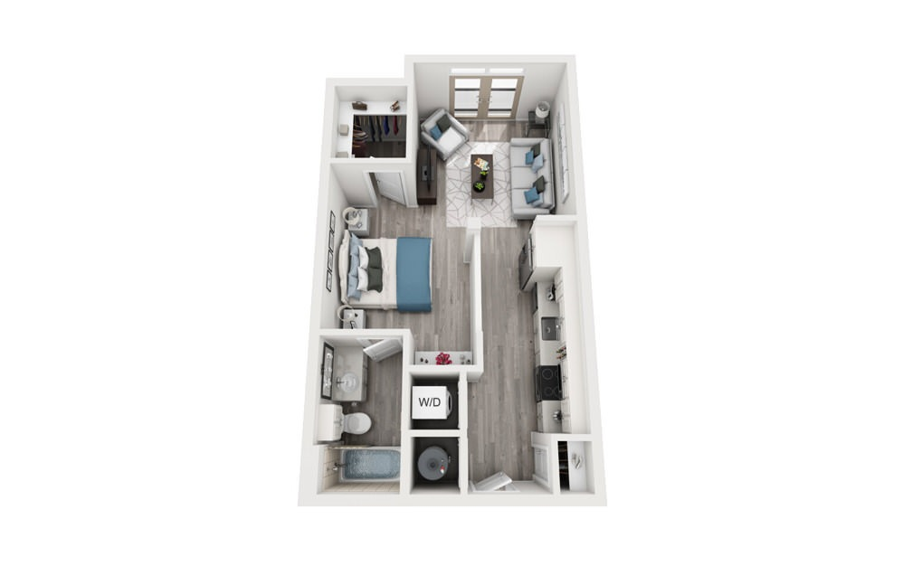 S1 - Studio floorplan layout with 1 bath and 558 to 619 square feet.