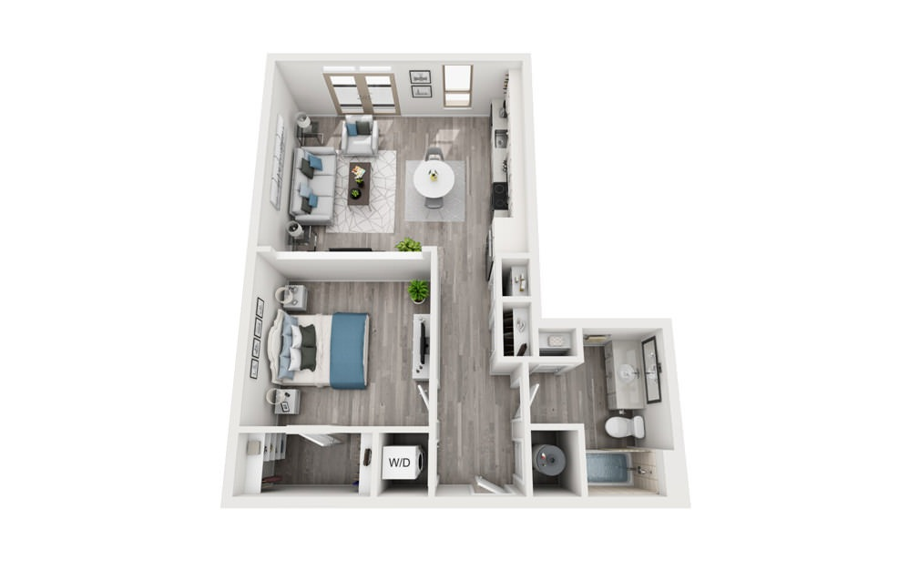 A6 - 1 bedroom floorplan layout with 1 bath and 775 square feet.
