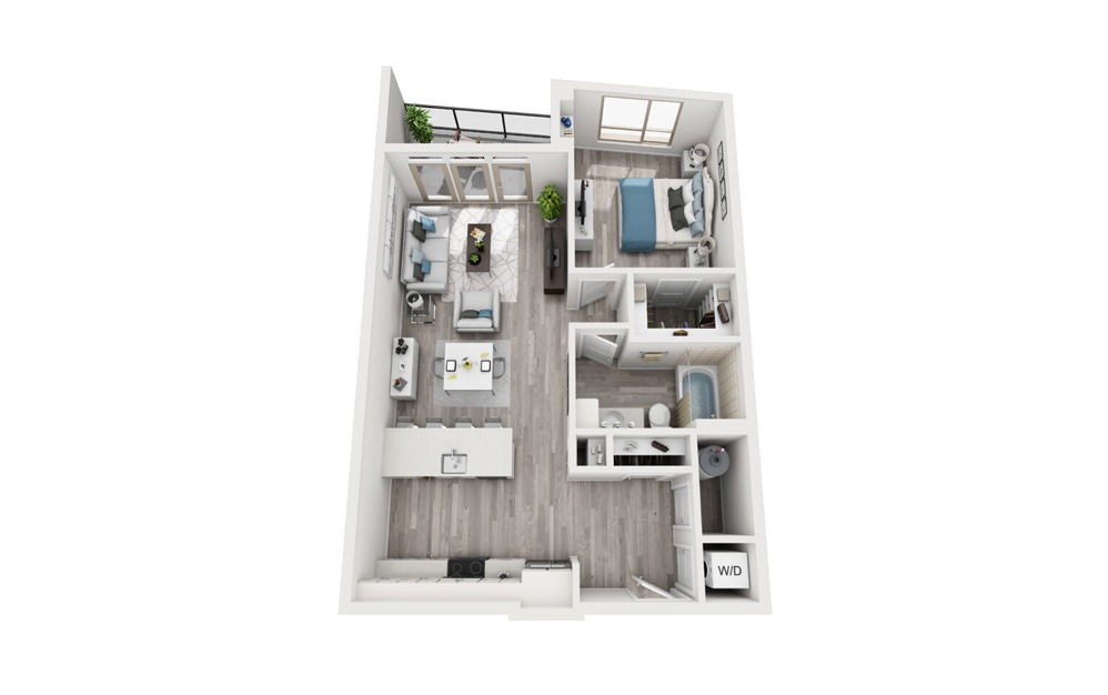 A7 - 1 bedroom floorplan layout with 1 bath and 824 to 949 square feet.