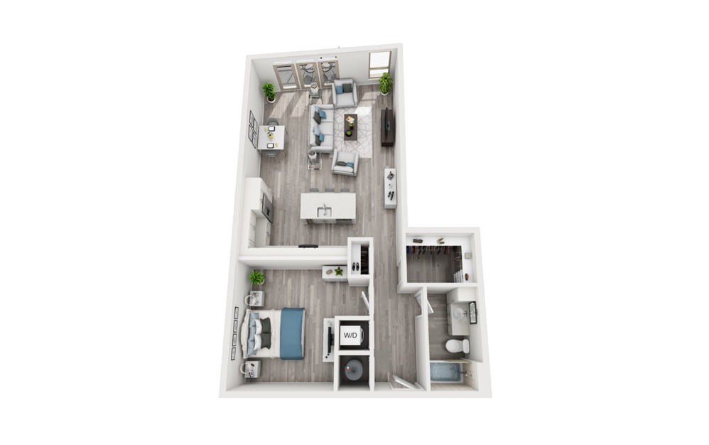 A8 - 1 bedroom floorplan layout with 1 bath and 968 square feet.
