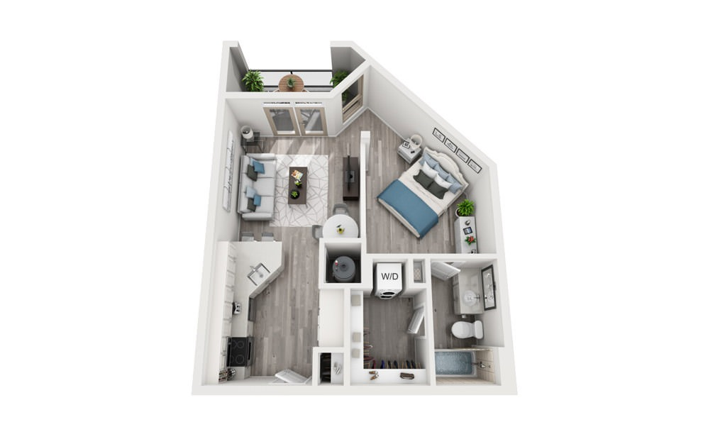 S2 - Studio floorplan layout with 1 bath and 613 square feet.