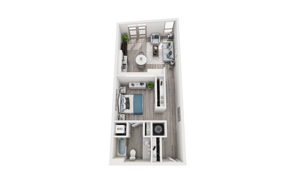 S4 - Studio floorplan layout with 1 bath and 717 square feet.