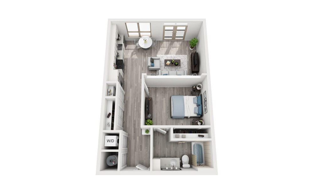 A1 - 1 bedroom floorplan layout with 1 bath and 719 square feet.