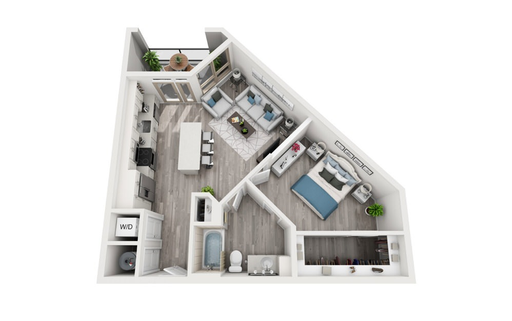 A4 - 1 bedroom floorplan layout with 1 bath and 731 square feet.