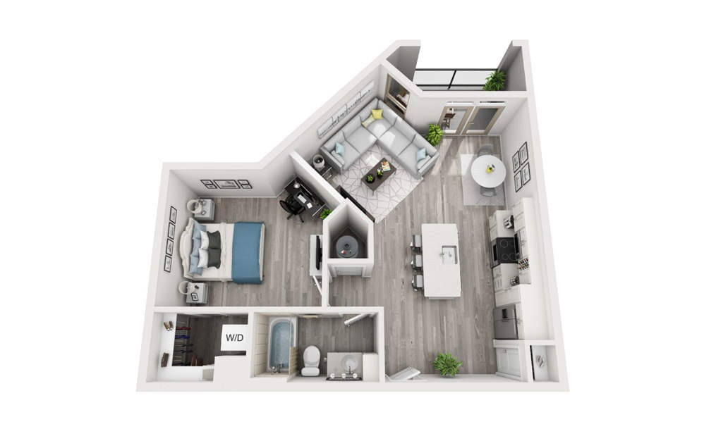 A5 - 1 bedroom floorplan layout with 1 bath and 767 square feet.