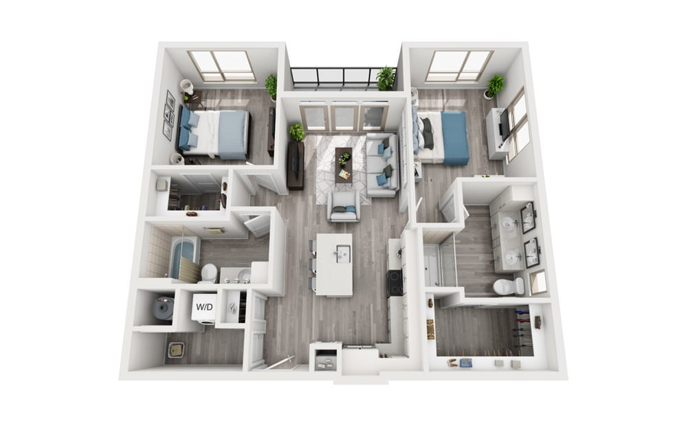 B1 - 2 bedroom floorplan layout with 2 baths and 1074 to 1122 square feet.