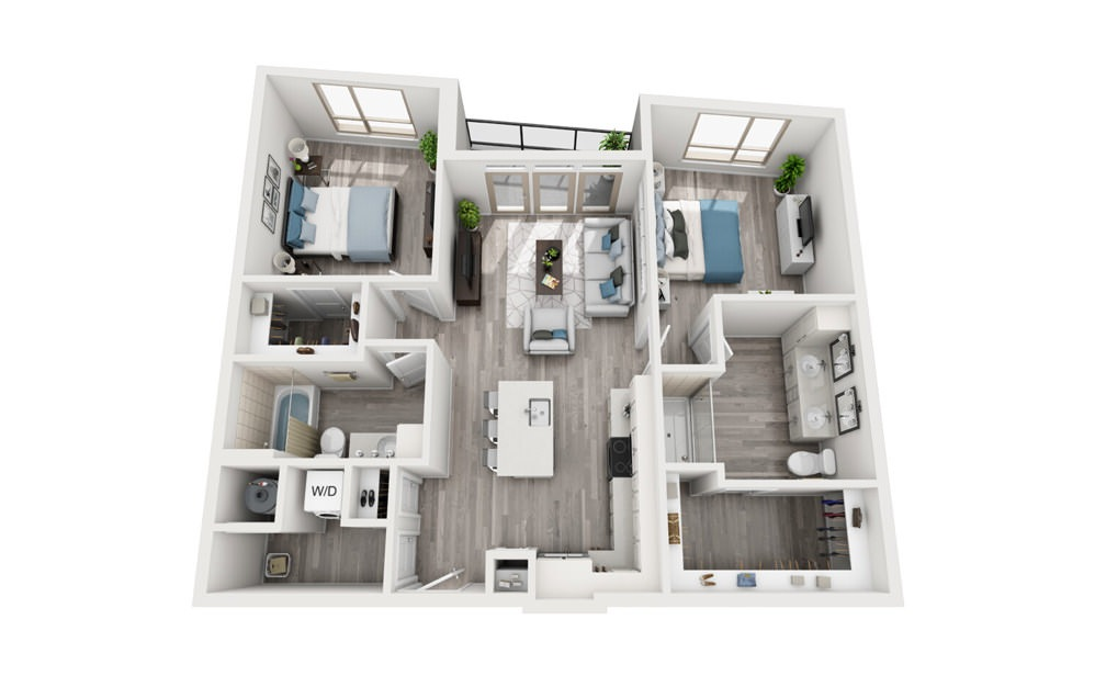 B2 - 2 bedroom floorplan layout with 2 baths and 1087 to 1089 square feet.
