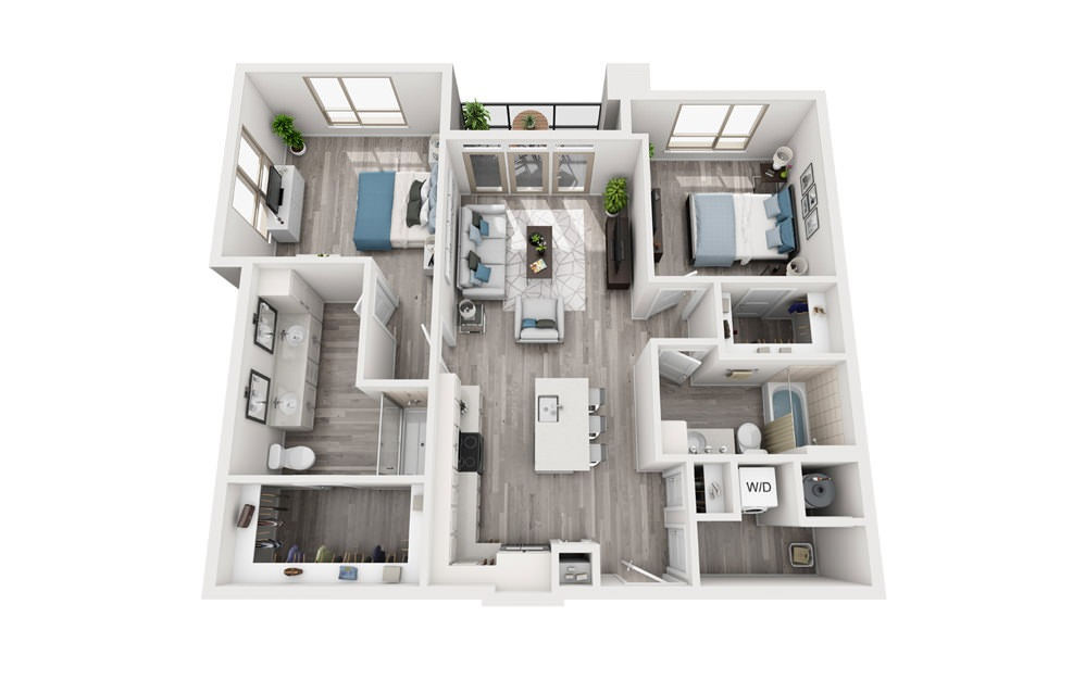 B3 - 2 bedroom floorplan layout with 2 baths and 1148 to 1150 square feet.