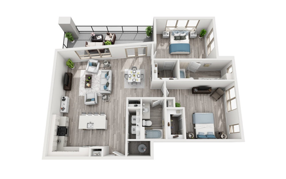 B4 - 2 bedroom floorplan layout with 2 baths and 1364 square feet.