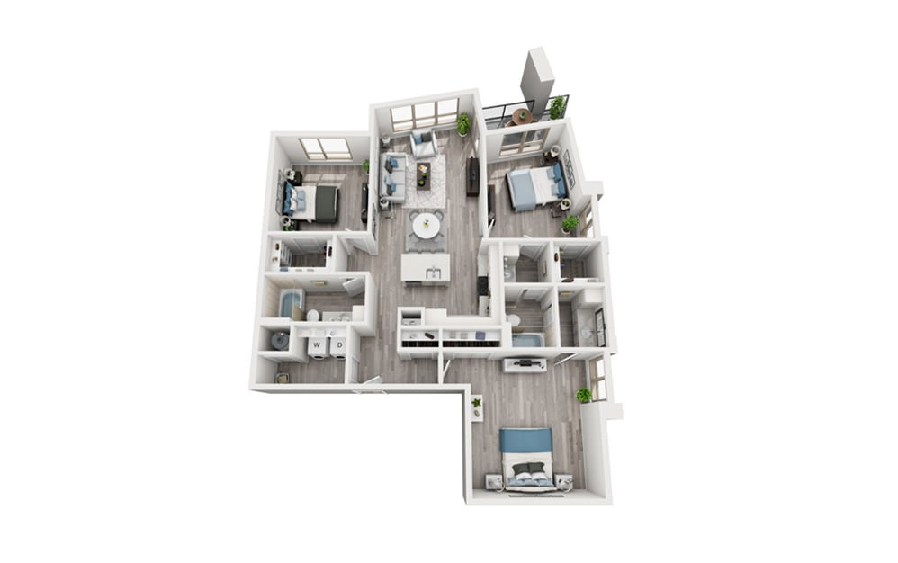 C1 - 3 bedroom floorplan layout with 2 baths and 1460 square feet.